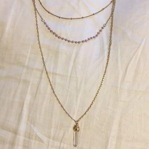 Free people multi layered quartz crystal necklace